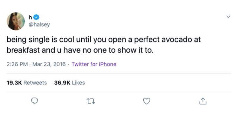 halsey tweet about being single