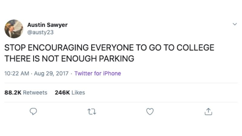 no parking on college campus