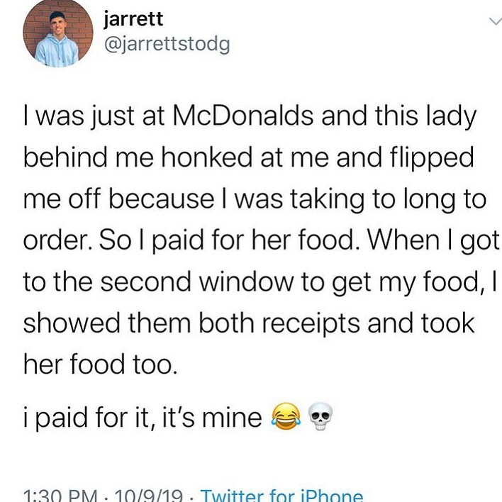 paying for food in drive thru and then eating it