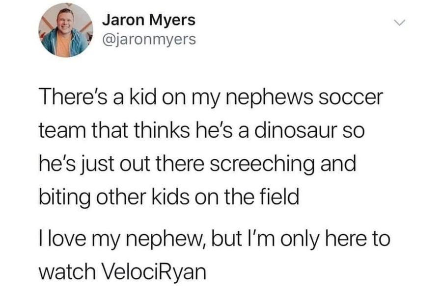 kid on soccer team thinks he's a dinosaur