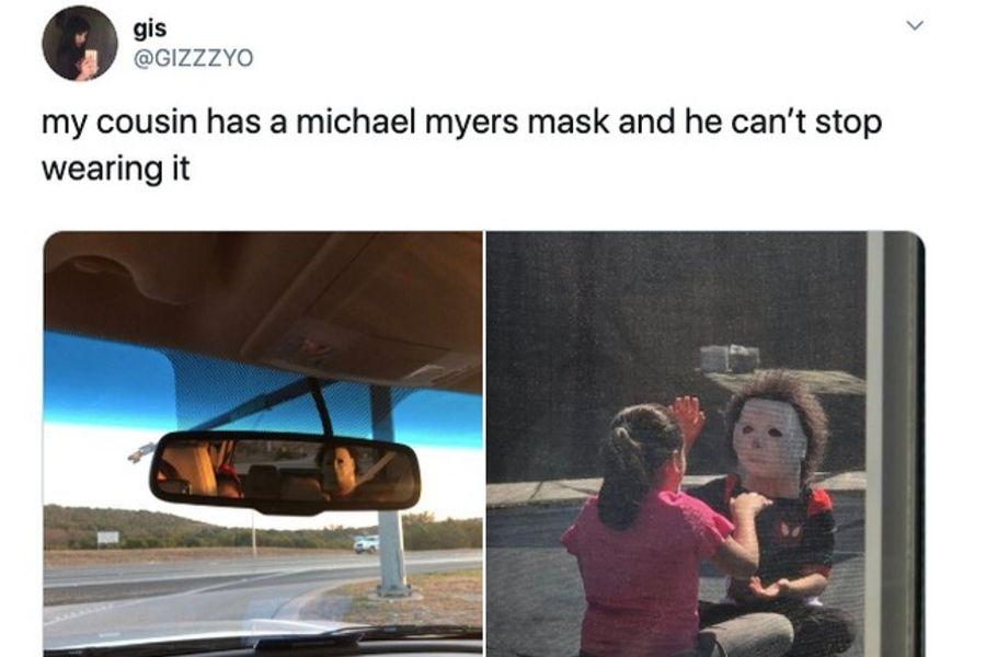 child wearing michael myers mask