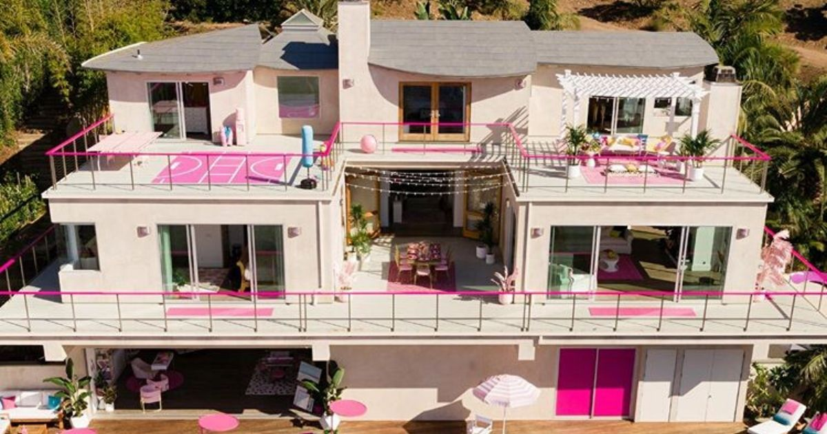 The exterior of the Barbie Malibu Dreamhouse available for rent on Airbnb