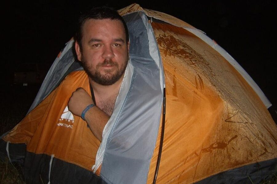 guy in small tent