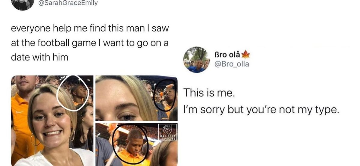 dude in orange shirt at game and girl in love with him
