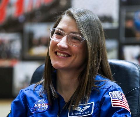 American astronaut Christina Koch (NASA) during a press conference