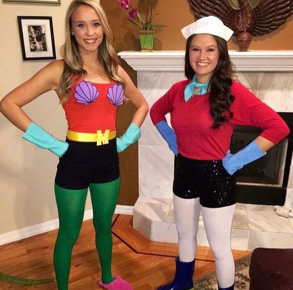 Two girls dressed as Merman and Barnacle Boy from Spongebob