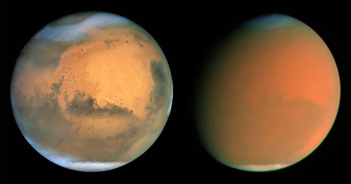 These Hubble images show Mars on June 26, 2001, before the dust storm began (left), and on September 4, 2001, in the midst of a dust storm (right).