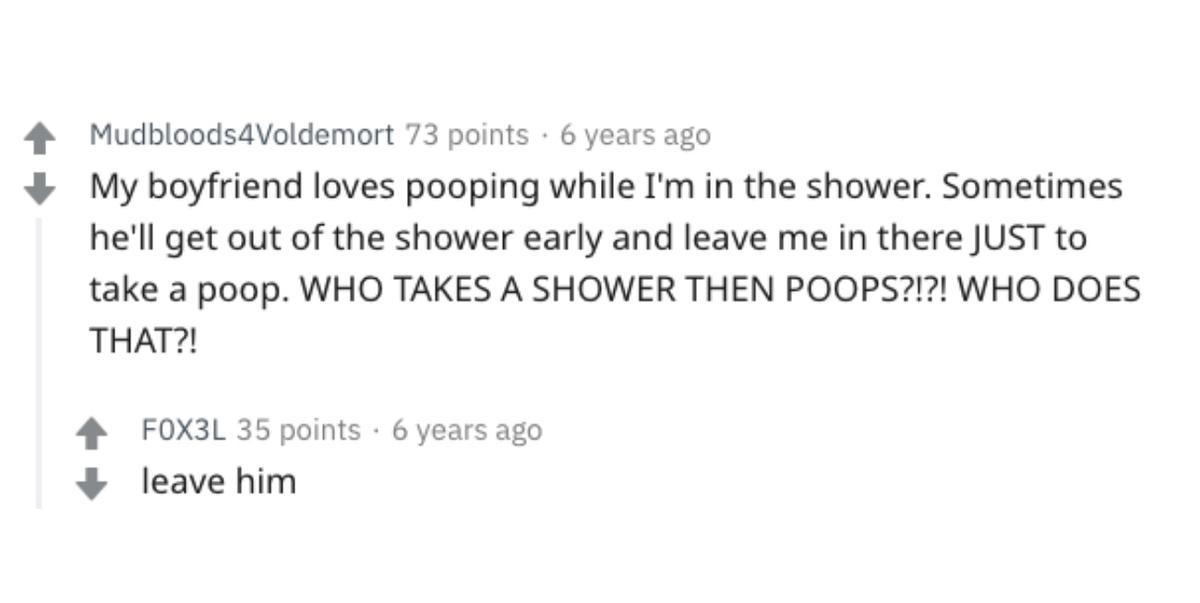 boyfriend pooping in shower