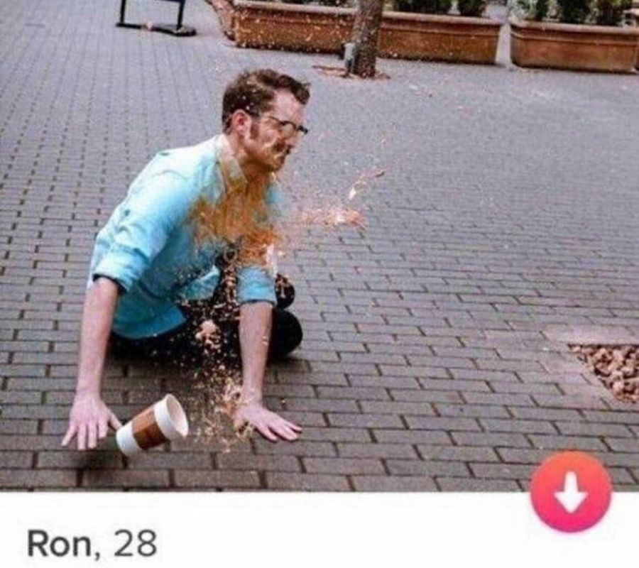 a guy made his Tinder pic him spilling his coffee
