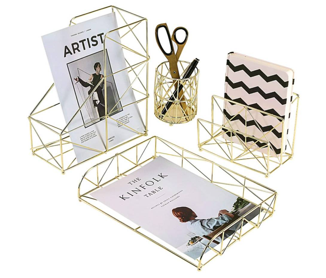gold wire desk set including a magazine holder, pen cup, notebook organizer, and letter tray