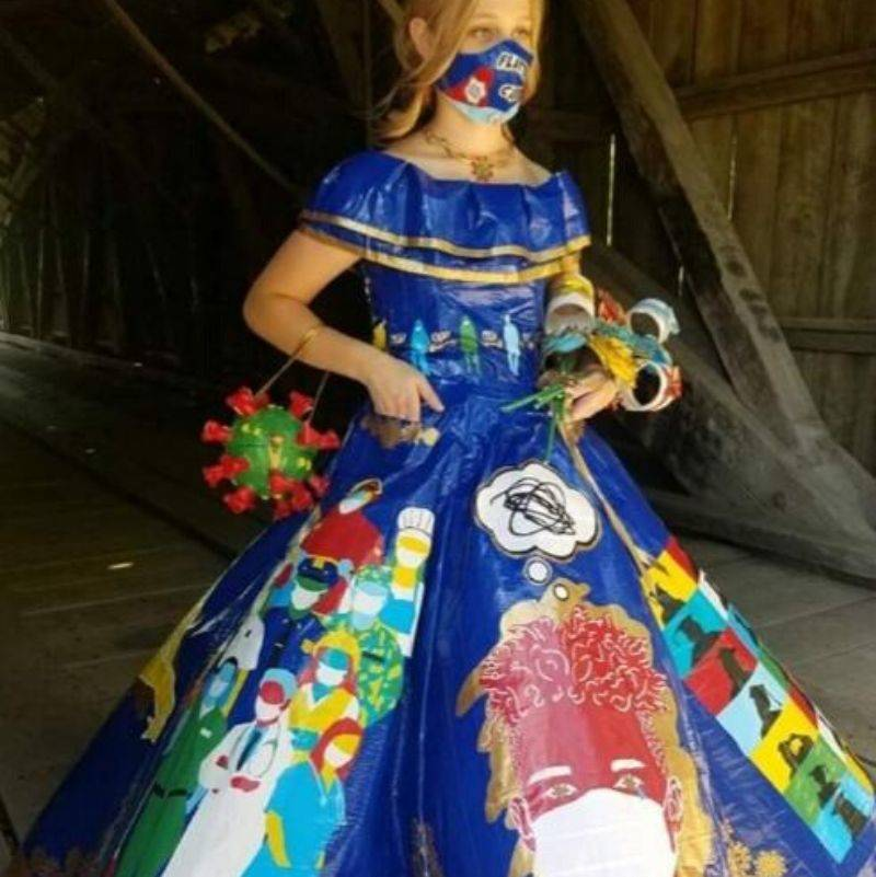 someone with a Corona virus prom dress