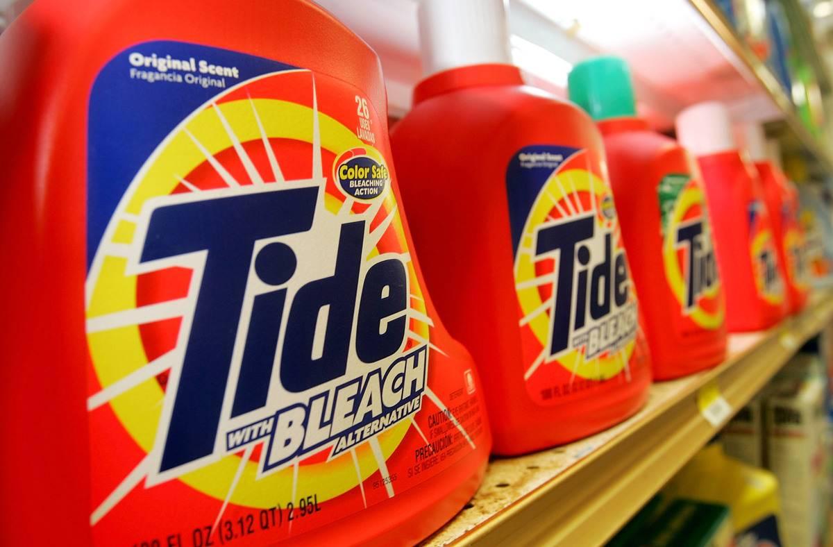 Tide laundry detergent on shelf