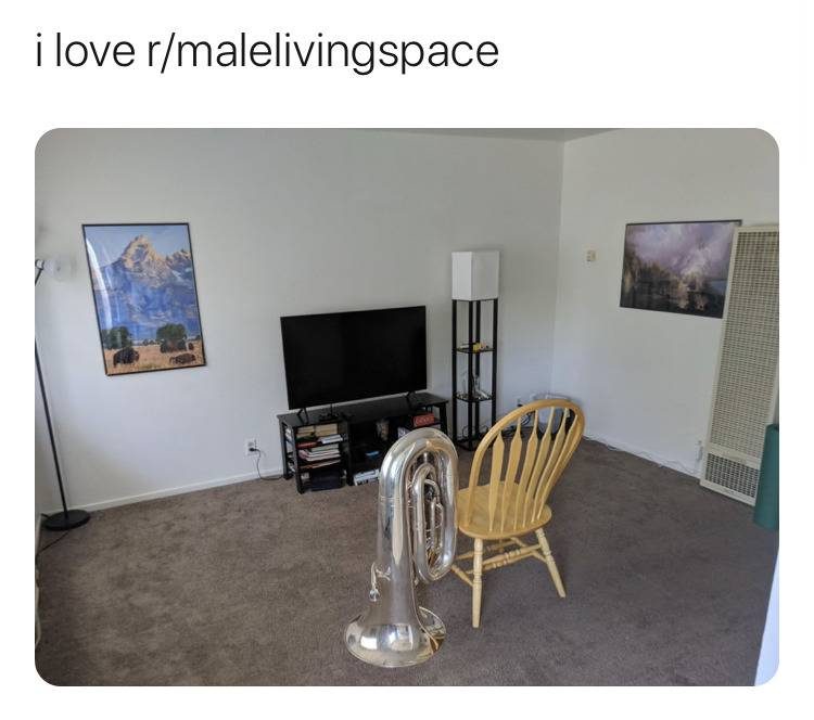 photo of living room with single wooden chair, tuba, and a television in it