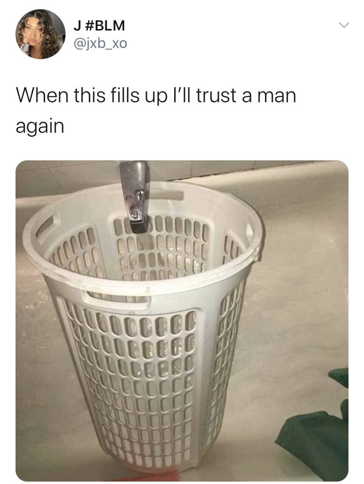 photo of bowl full of holes captioned: when this fills up I'll trust a man again