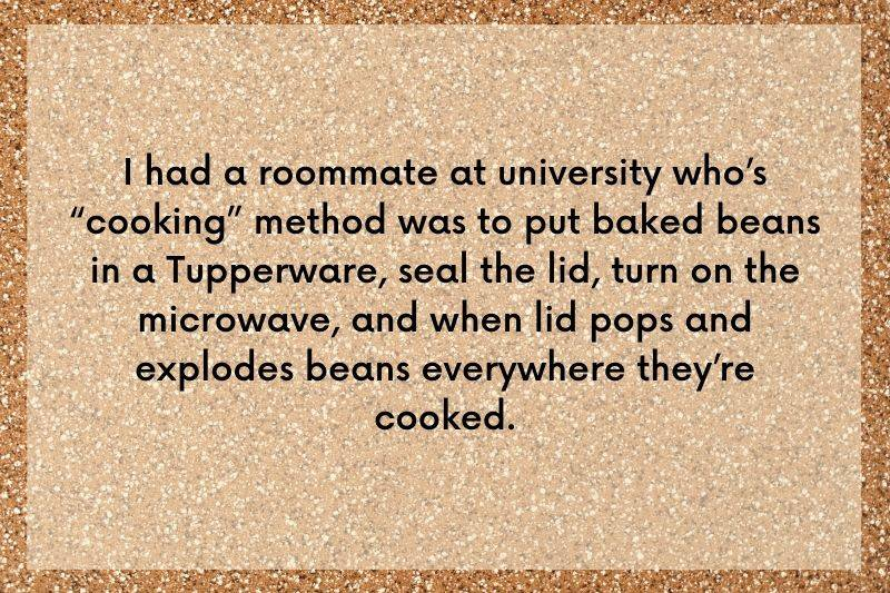 someone cooked beans in a Tupperware container to cook in a microwave