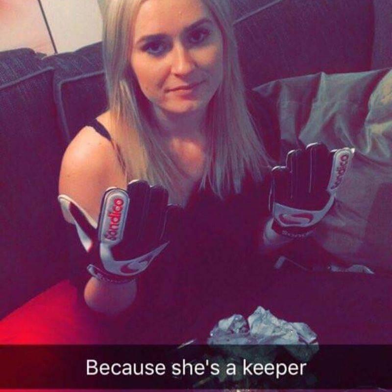 boyfriend got his girlfriend goalie gloves because she's a keeper