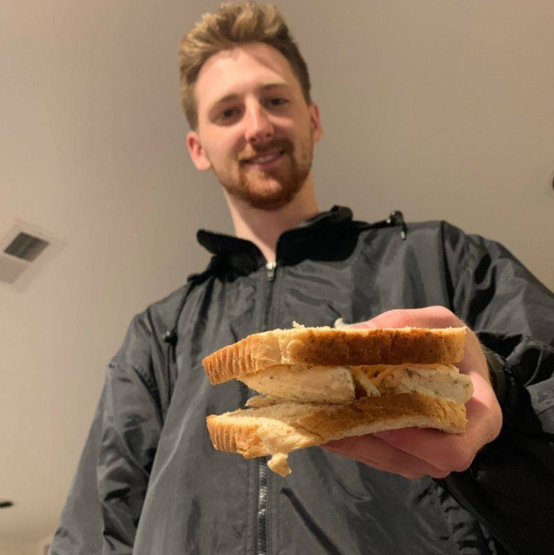 guy makes an actual ice cream sandwich