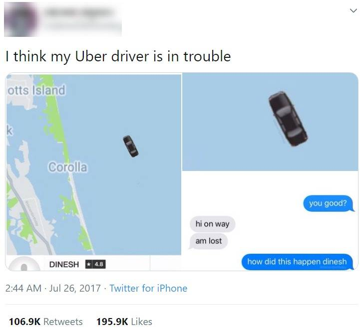 uber driver lost on the way