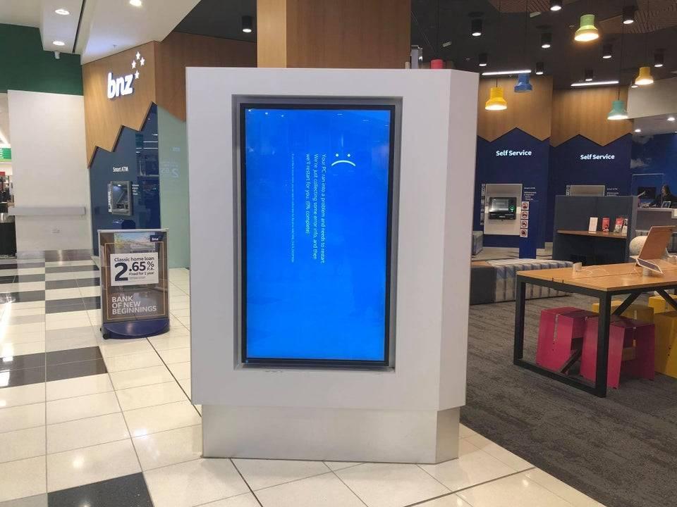 broken ad in mall