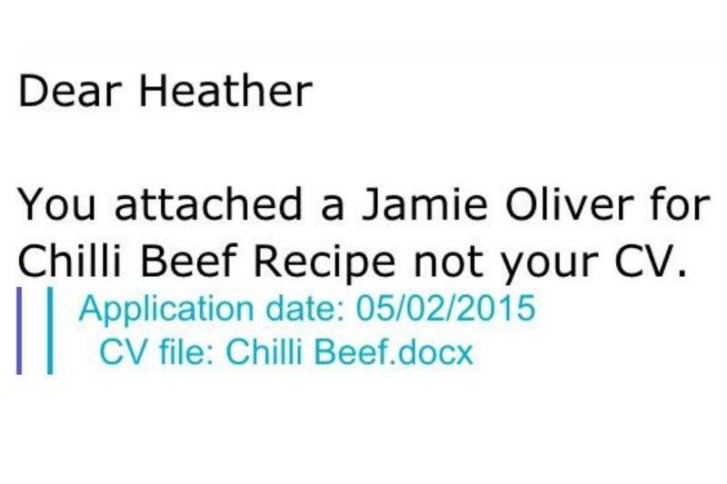 someone sent a recipe instead of a resume for a job posting