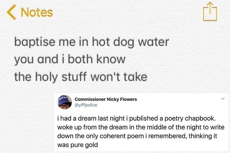 someone wrote a poem about hot dog water
