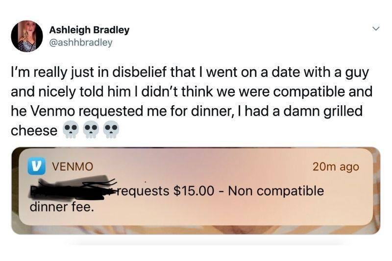 guy charging his date a non compatible fee after a day that didn't go well