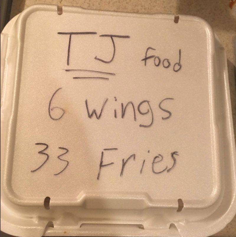 someone wrote down exactly how much food was in their leftover container