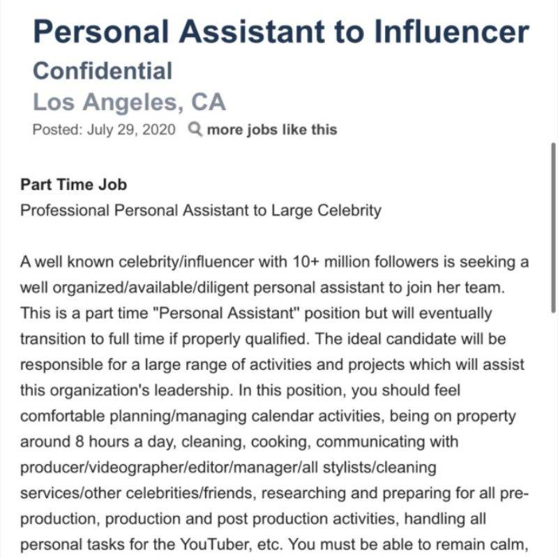 a personal assistant ad for an Influencer