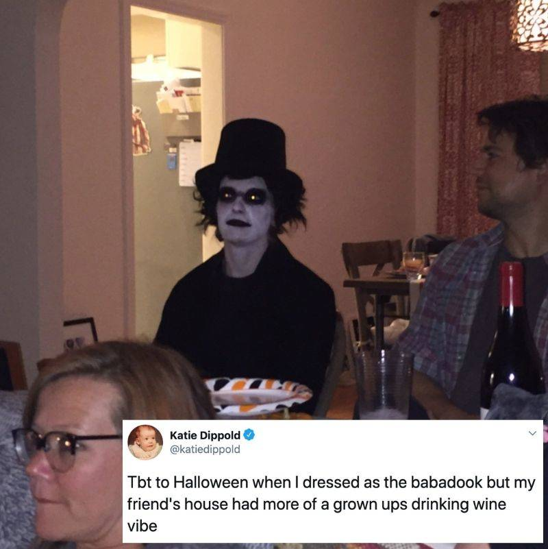 Tweet: Tbt to Halloween when I was dressed as the babadook but my friend's house had more of a grown ups drinking wine vibe