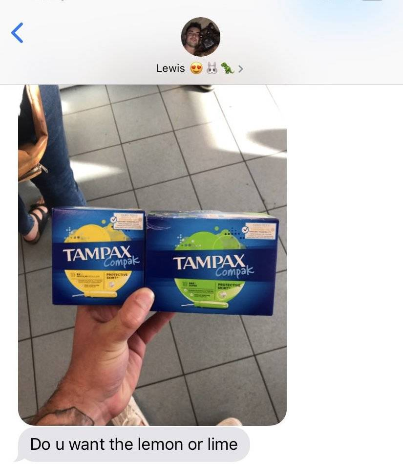 boyfriend buying tampons asks if she wants them in