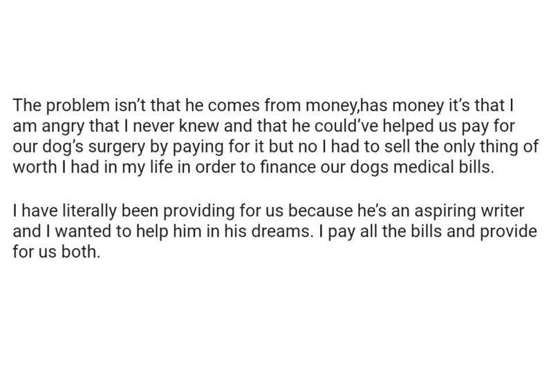 woman talking about finding out her fiance is rich