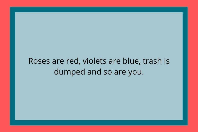 Reddit Post: Roses are red, violets are blue, trash is dumped and so are you.
