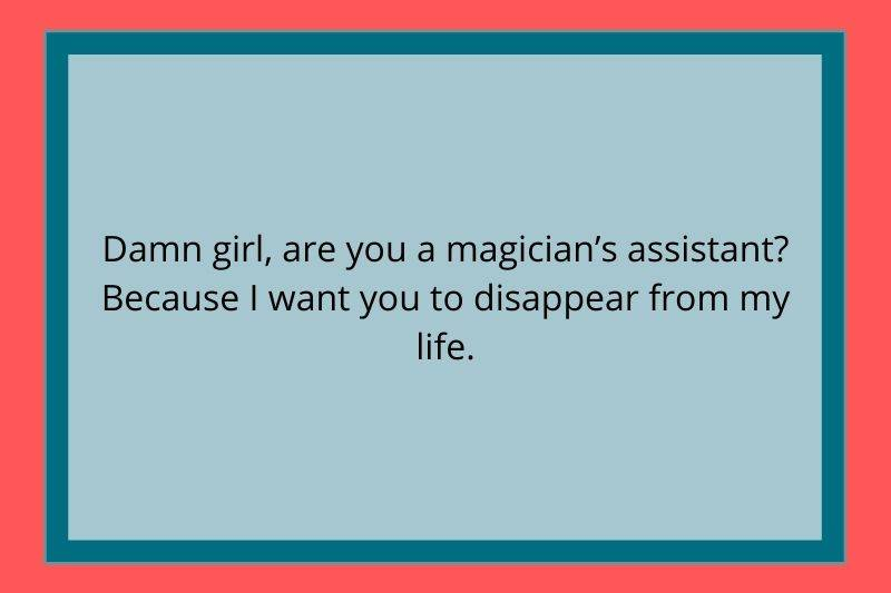 Reddit Post: Damn girl, are you a magician's assistant? Because I want you to disappear from my life.