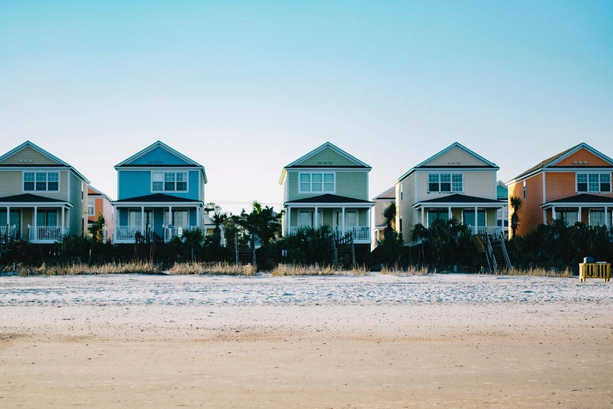 pastel beach homes right on the shore