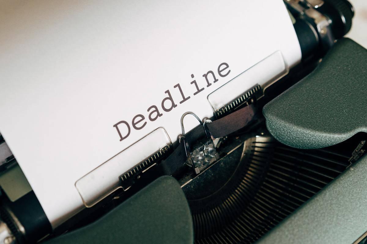 Deadline written by typewriter