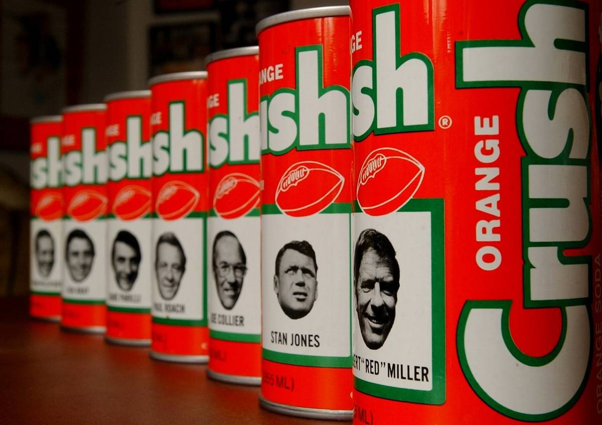 collection of retro Orange Crush Cans