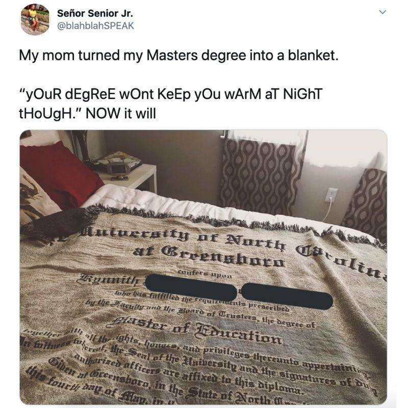 someone's mom turned their master's degree into a blanket