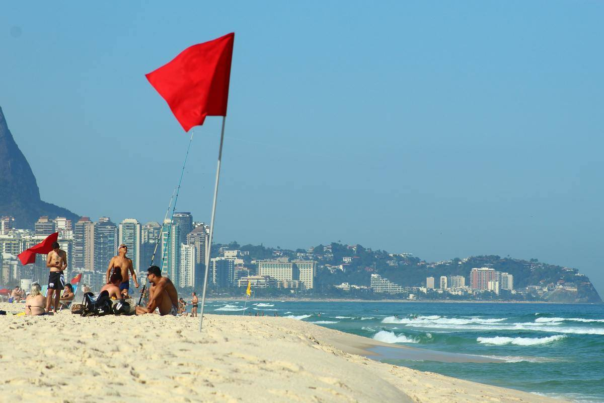 Red flag standing on the beach