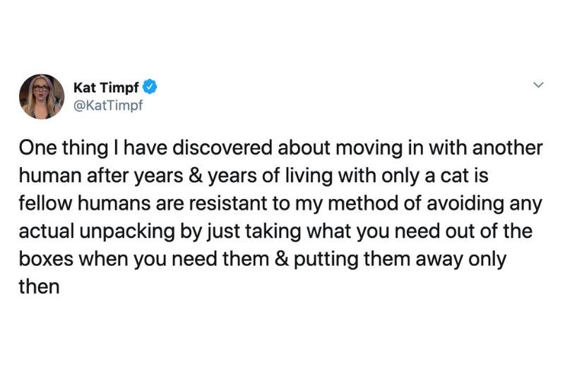 one thing I have discovered about moving in with another human after years & years of living with only a cat is fellow humans are resistant to my method of avoiding any actual unpacking by just taking what you need out of the boxes when you need them & putting them away only then