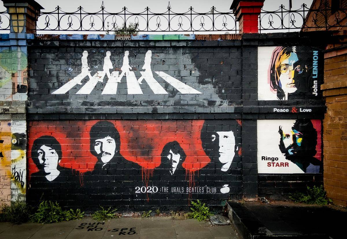 the beatles mural on wall