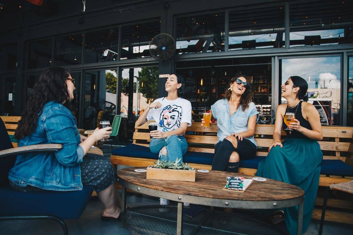 group of female friends talking