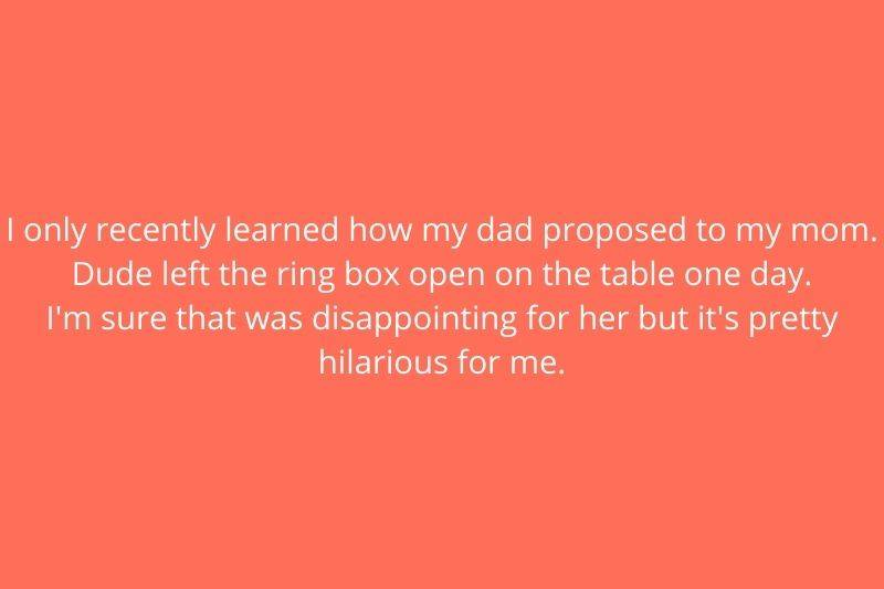 someone telling story about how their parents got engaged