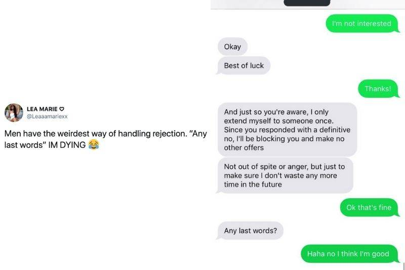 guy telling a girl he never gives them more than one chance after she says she isn't interested