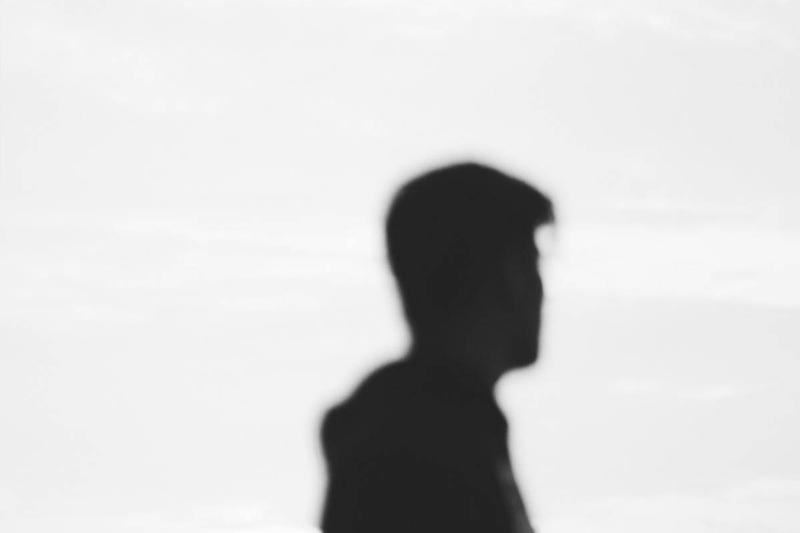 man silhouette in grayscale