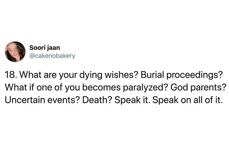 talk about what your dying wishes are