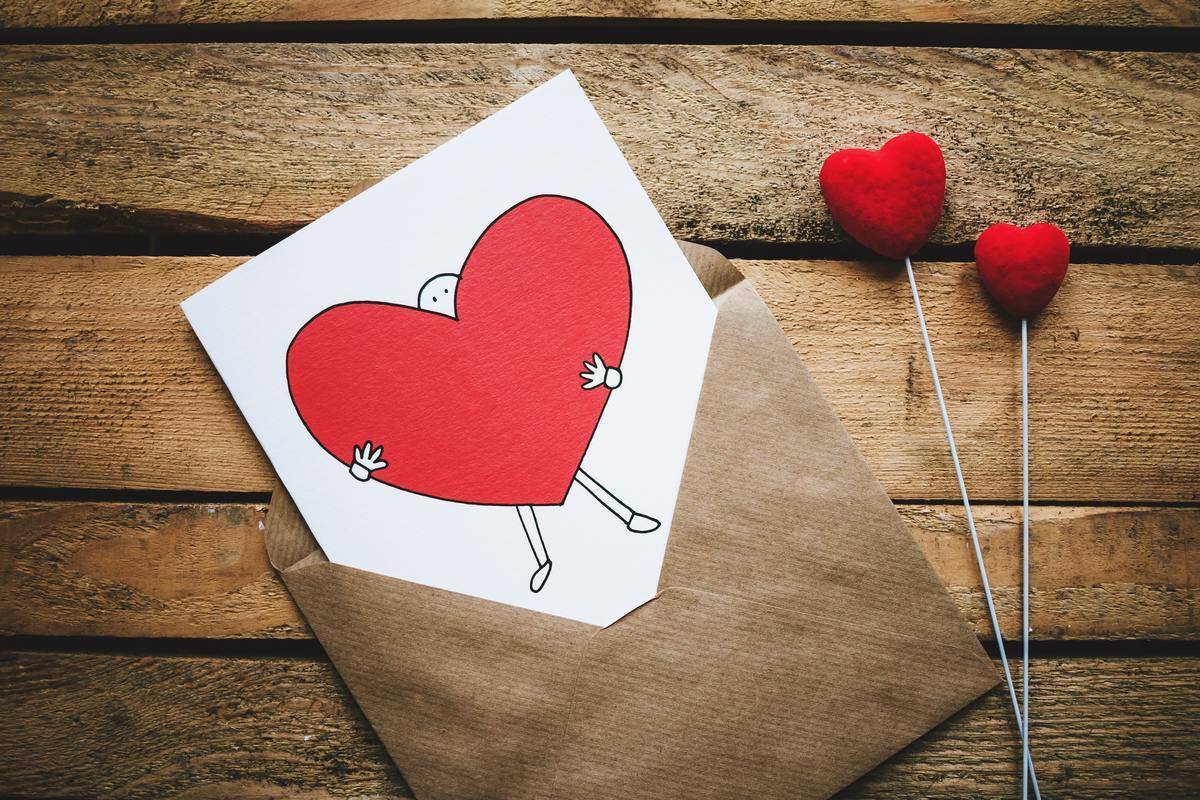 letter with cartoon heart drawing