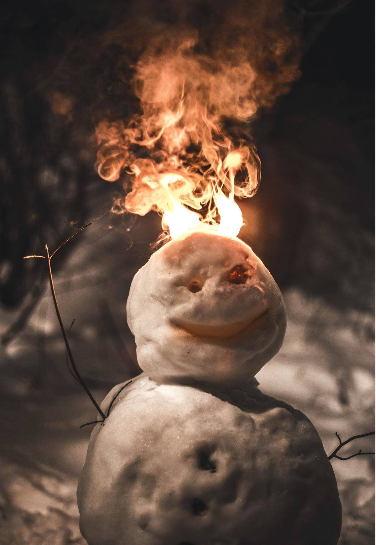 snowman with head on fire