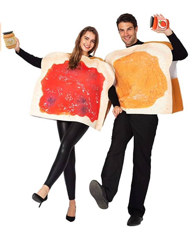 woman dressed as slice of bread covered in jam, man dressed as slice of bread covered in peanut butter