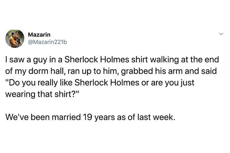 person asked if the other person likes Sherlock Holmes after seeing them wearing a shirt