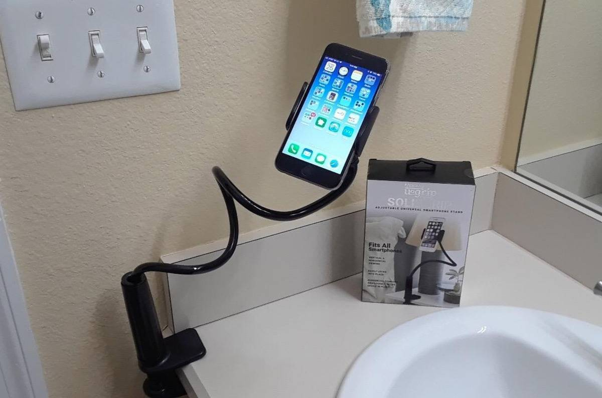 the phone holder in a bathroom